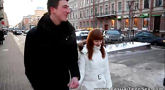 Casual Teen Hook-up - Warm sex Rosanna on a cold winter day