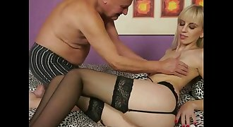 Grandpa fucking young blonde girl