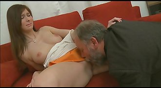 Youthful playgirl sucks and rides old wang