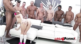 Petite Kira Thorn gets the Gang-bang of her life - Fucked by 10!