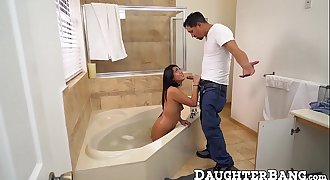 Handsome petite teen pussy pounded by a hung plumber